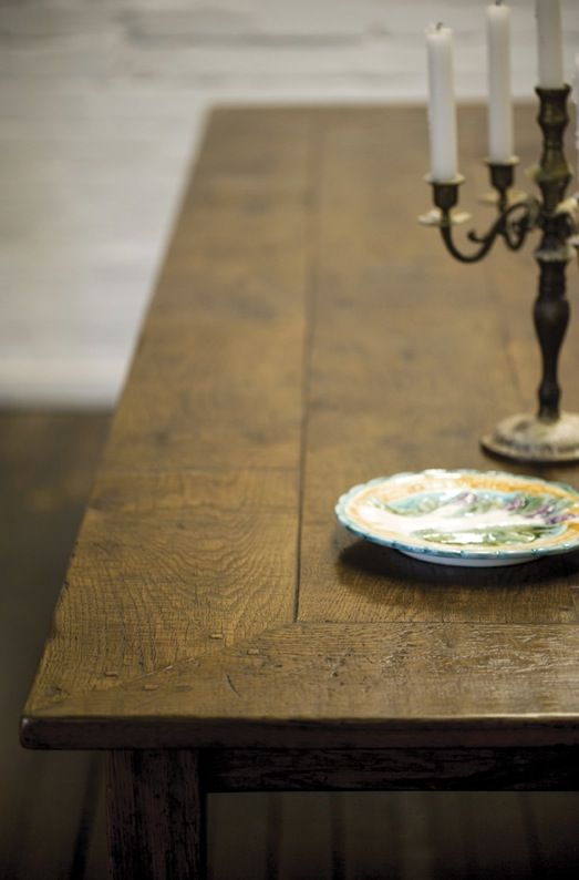 Antique French Oak for a dining table.