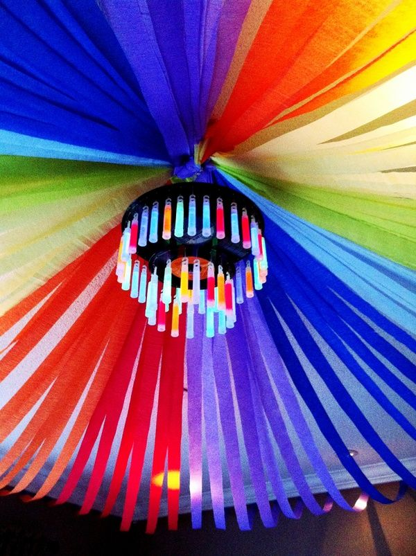 Glow stick chandelier and streamers