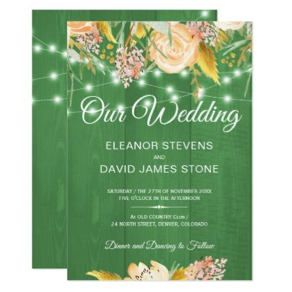 Rustic lights barn wood spring floral wedding card - barn wedding gifts template diy customize personalize marriage