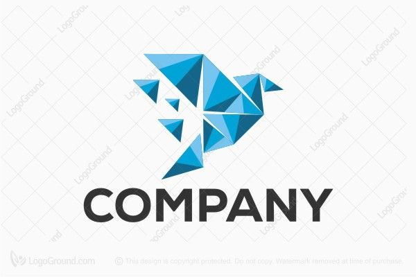 Logo for sale: Bird Paper Art With Triangle Logo