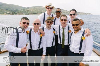 Groomsmen on board - perfect combination attire #weddingphotos_gromsmen #boattrip_beachwedding