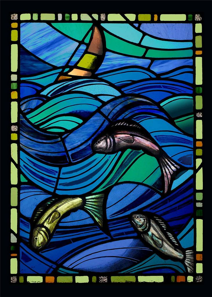 stained glass sea panel