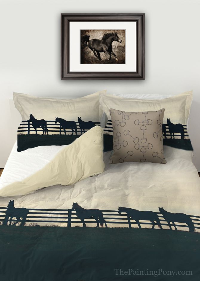 Horses at the Fence Equestrian Duvet Bedding Cover - The Painting Pony