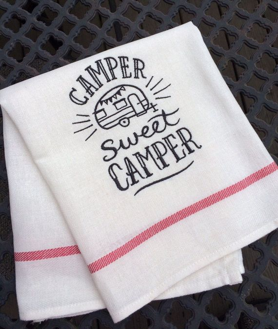 Camp Kitchen Dish Towel, Camper RV Decor, Valentine's Day Gift, Happy Camper, Flour Sack Sign Quote, Sweet Camper, Camping Gifts, Pop Up