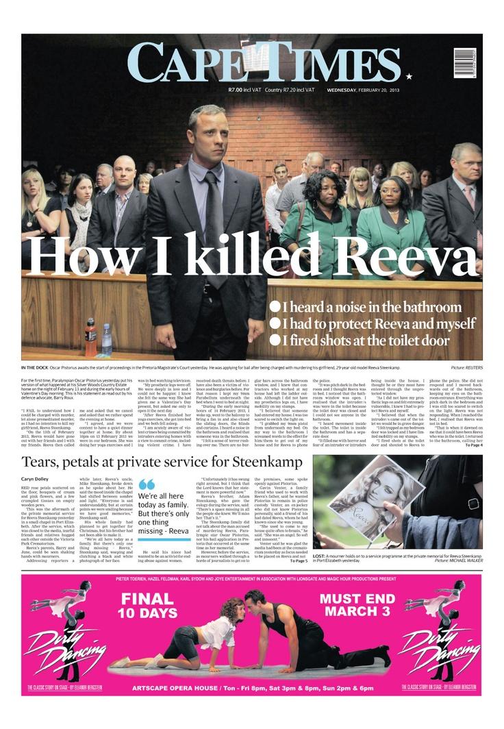News making headlines: How I killed Reeva - Oscar