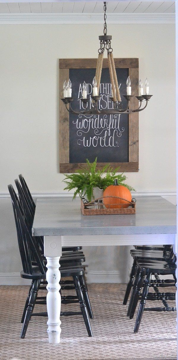 I like the chairs painted black with the 2 tone table and the tray with decorations in the middle - easy to take off during meal time :0)