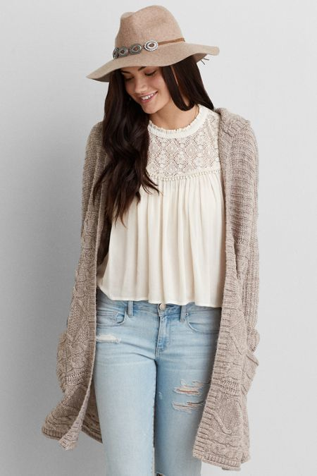 American Eagle Outfitters AEO Oversized Hooded Cardigan