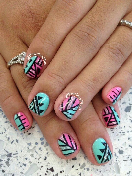 Pink and mint , Nail art