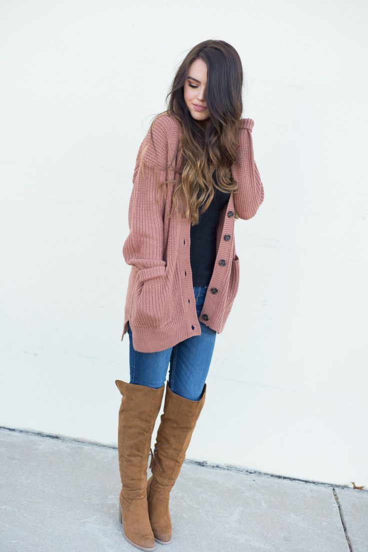 Cozy cardigan and over the knee boots | winter outfit