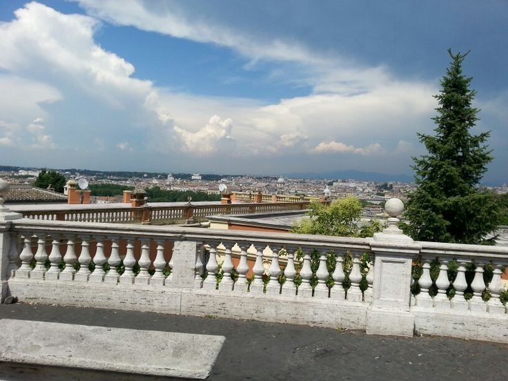 Wonderful view of Rome from Montorio in front of the Tempietto.