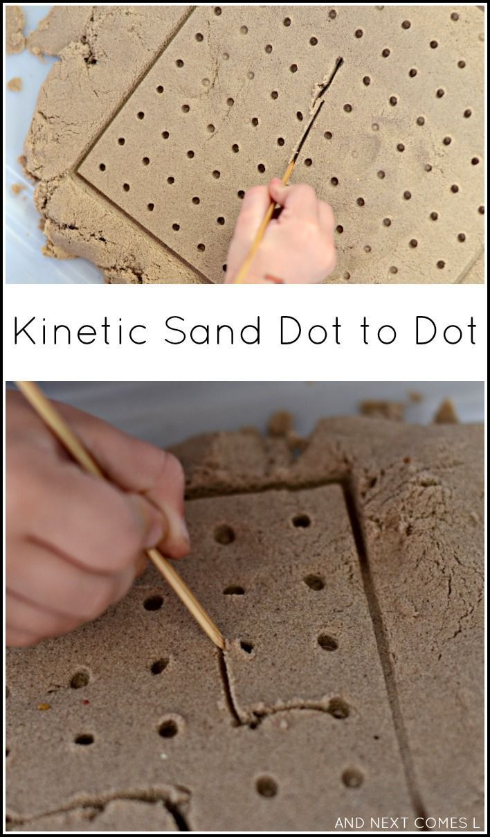 Kinetic sand dot to dot - fine motor sensory play for kids.