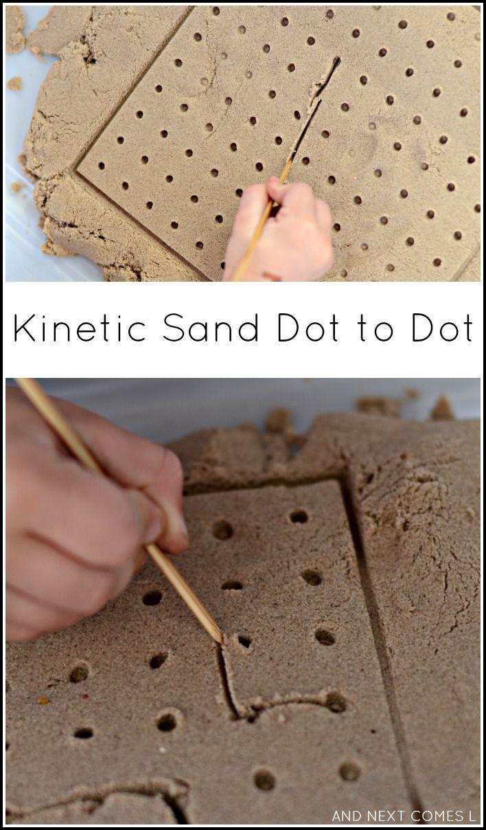 Kinetic sand dot to dot - fine motor sensory play for kids.