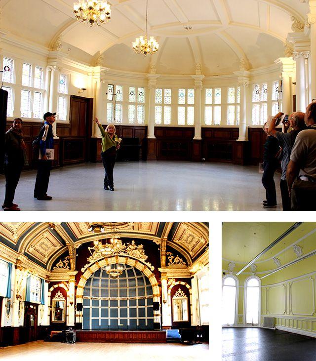 London Yarn Museumの楽しみ その5 扉の向こう   BRITISH MADE  「Finsbury Town Hall」です。現在はダンス学校として、また、演劇などの催し物や結婚式に使用されていますが、建設された当時(1895年)はTown Hall、つまり市役所のような事務所や議会場の役割も果たしていました。しかし、当初から事務機能だけではなく、人々の集いの場としての目的を持って建てられたため、あちらこちらにアールヌーヴォー様式の豪華な装飾が
