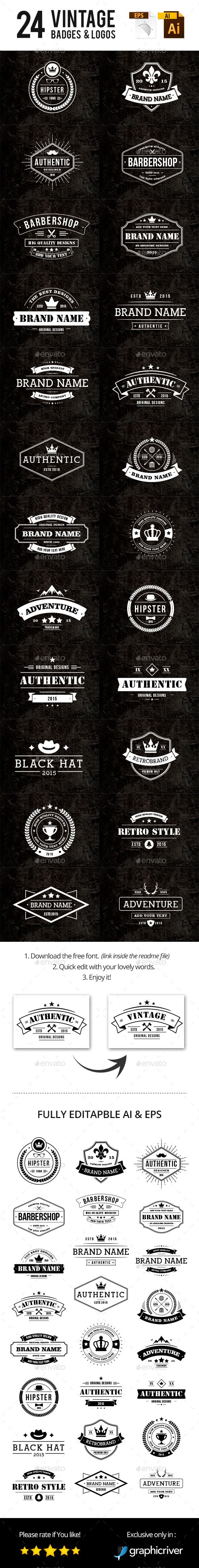 24 Vintage Badges & Logos #design Download: http://graphicriver.net/item/24-vintage-badges-logos/12038951?ref=ksioks