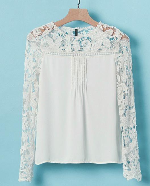 2016 nuevas mujeres de la manera, blusas de manga larga azul de satén gasa más el tamaño ocasional de la blusa de encaje blanco, señoras Blusas blusa kimono
