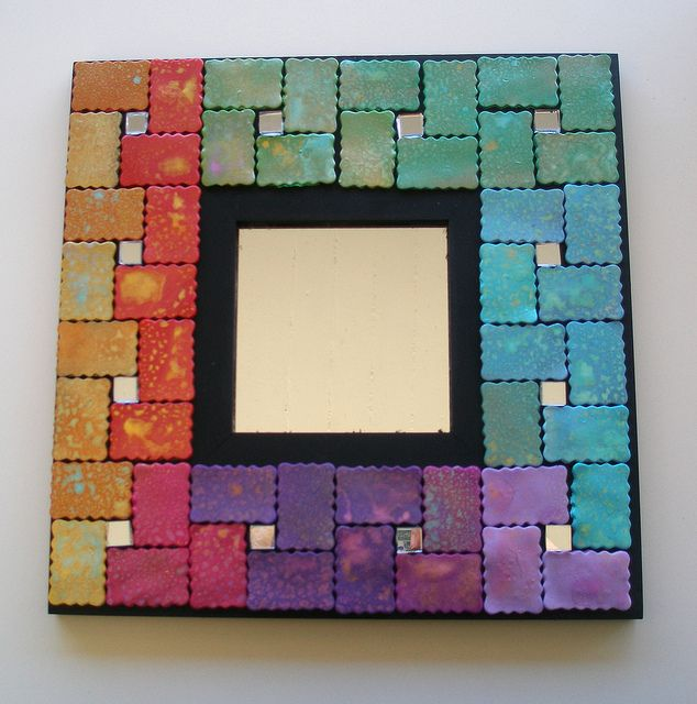 """Mirror with polymer clay mosaic tiles """"Olympia"""" by klio1961, via Flickr"""