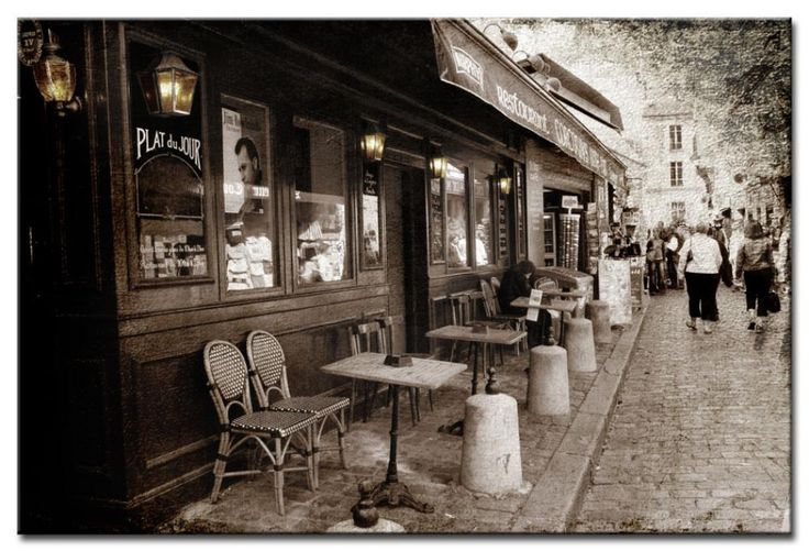 Leindwandbilder Französisches Café - Paris - Städte - Wandbilder