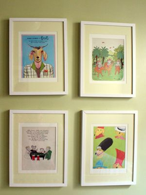 Interior decorator Alexa Stevenson took pages from her favorite children's books (she found the Babar book from 1949 at Brooklyn Flea for $1!) and framed them with customized yellow mats to dress up white IKEA frames for a client's nursery.    Voila, wall art made from a treasured storybook!