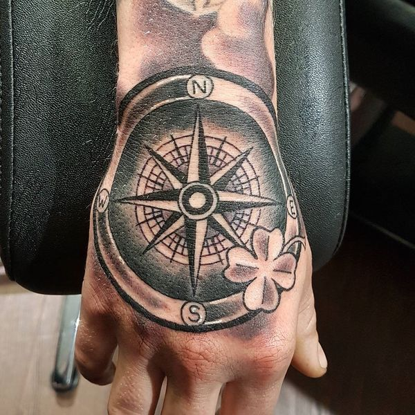 Compass Tattoo Designs Ideas And Meanings August 2020 Compass Tattoo Compass Tattoo Men Hand Tattoos