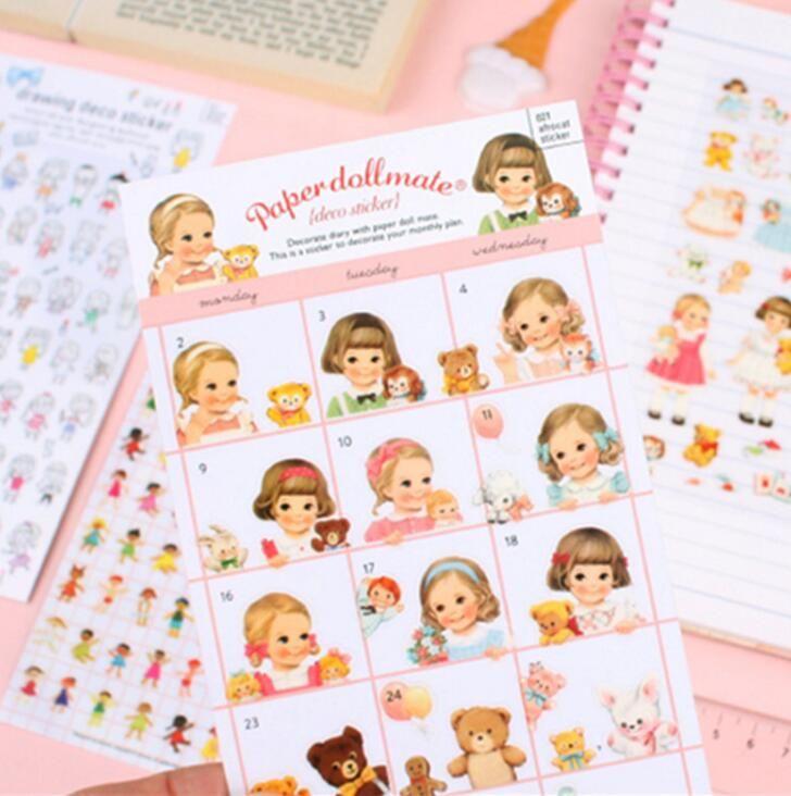 Cute Little Dollmate Decorative Stickers Adhesive Stickers DIY Decoration Diary Stickers