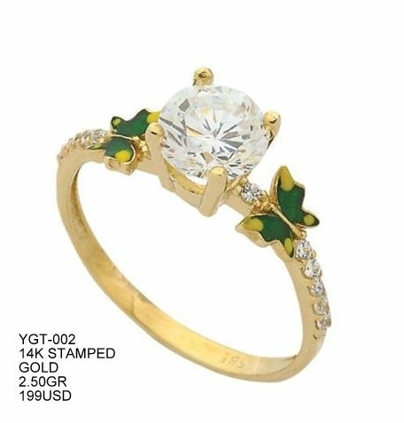evileye solitaire ring 14k stamped yellow gold by ephesusdiamond, $199.00