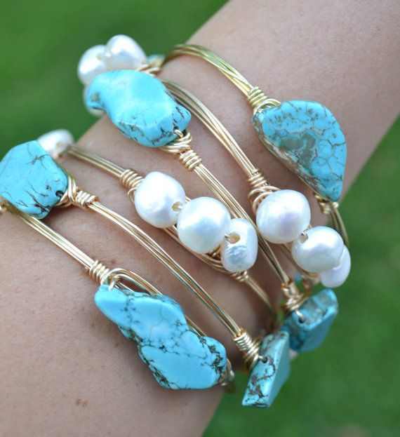 Natural Freshwater Pearl Wire Wred Gold Bangle Bracelet Baubles And Jems Pinterest Jewelry Bracelets