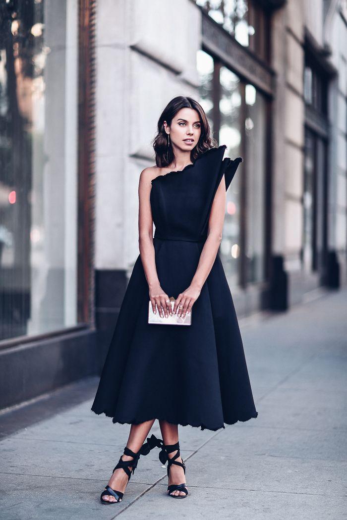 Vika Gazinskaya wing-shaped shoulder, midi black dress