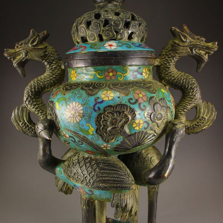 Lot: Chinese Bronze Cloisonne Double Dragons Incense Burner, Lot Number: 0312, Starting Bid: $500, Auctioneer: Quan Rong Gallery, Auction: Chinese Art Auction, Date: December 20th, 2016 PST