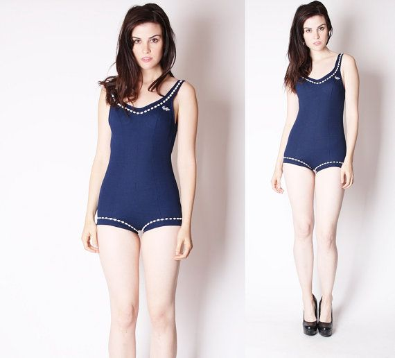 Vintage 1960s Bathing Suit  Vintage Bathing Suit  by aiseirigh - I really like this shape.
