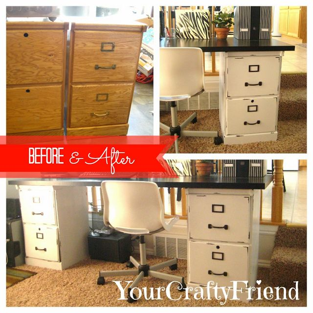 File cabinet to desk diy makeover. This is a good jumping off point. Don't like the paint job but I could see this painted with wood for the desk part.