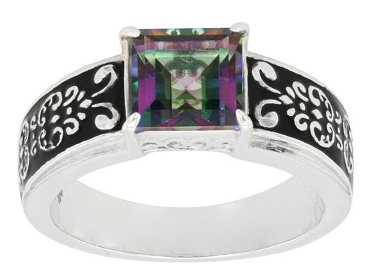 3.04ct Square Mystic(R) Green Topaz Sterling Silver Ring