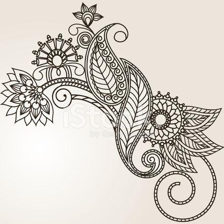 Hand Drawn Abstract Henna Mehndi Flowers and Paisley stock photos ...