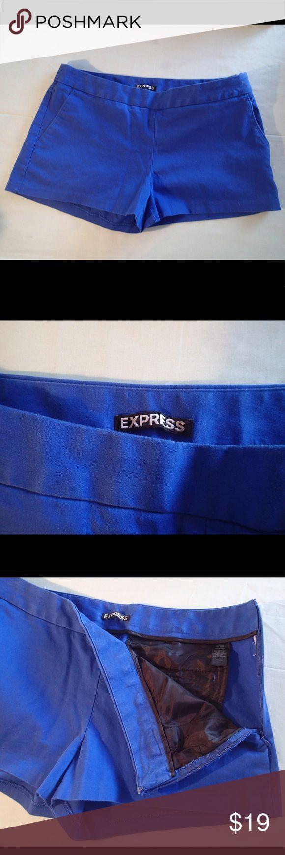 Express Cobalt blue short shorts Electric cobalt blue short shorts, great condition, no front pockets, invisible side zipper ✨measurements upon request✨ Express Shorts