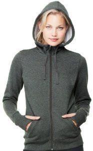Image of Yoga Clothing For You Ladies Performance Full-Zip Hoodie, Large Dark Heather Grey