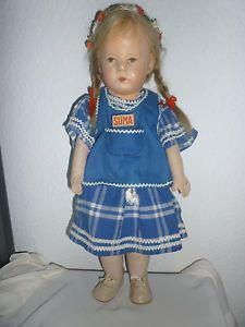 Antike-Kaethe-Kruse-Puppe-I-mit-Haaren-unrestauriert