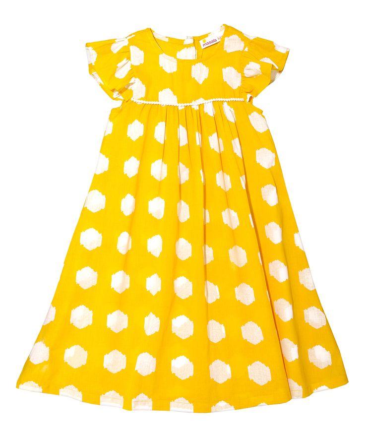 Yellow & White Dots Dress - Girls
