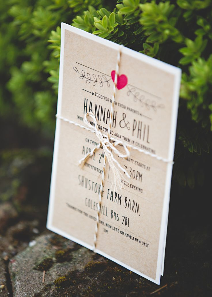 Brown Paper Kraft Stationery Invitation Heart Twine Gold Easter Travel Barn Wedding http://hbaphotography.com/