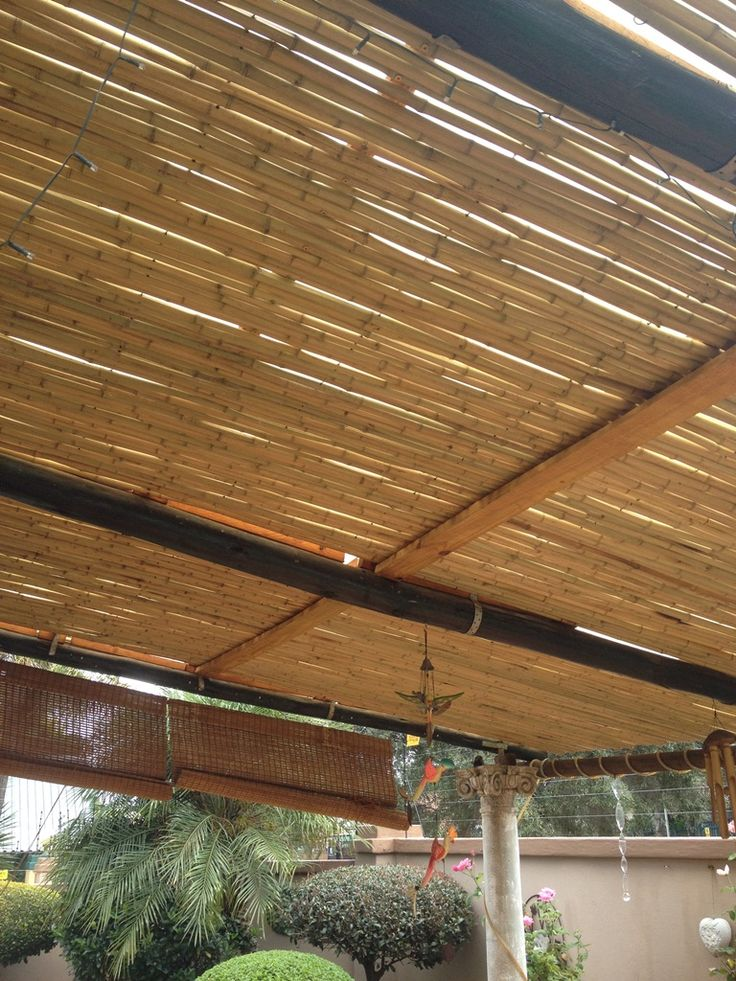 Natural bamboo rolls, used to create a beautiful outdoor pergola !! Job done in Pretoria.