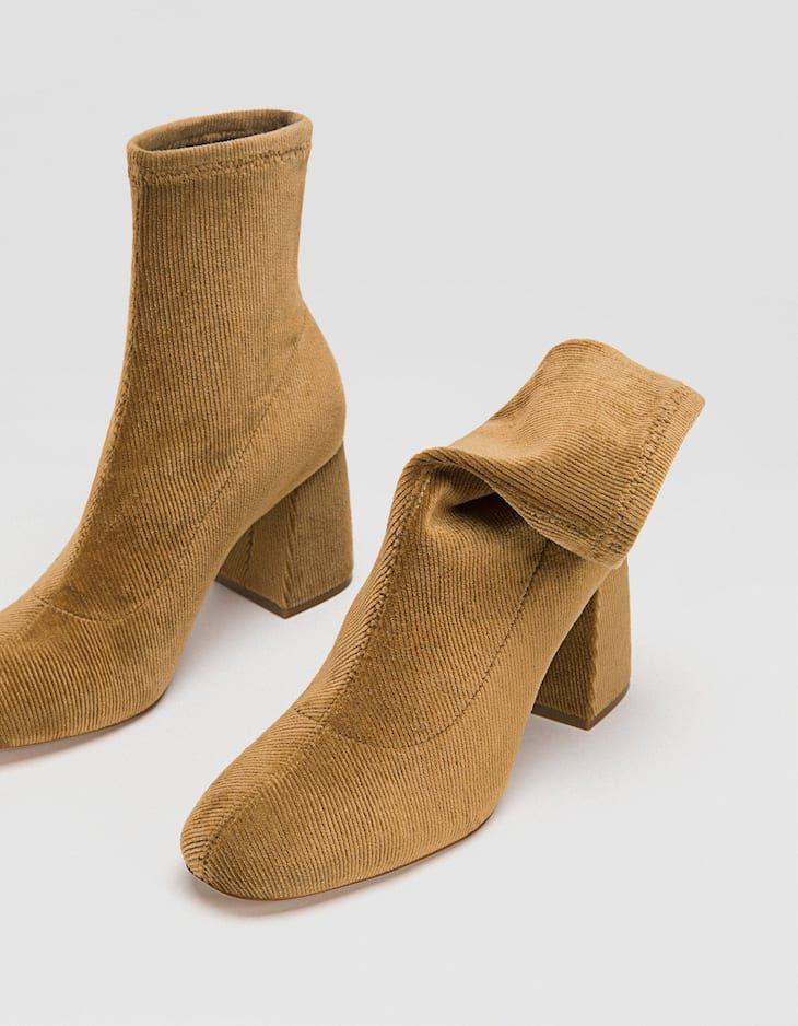 f3f08925c56 Botín tacón pana marrón - Botas y botines de mujer