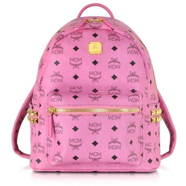 MCM Pink Small Stark Backpack (830 AUD) ❤ liked on Polyvore featuring bags, backpacks, mcm, zipper bag, print backpacks, studded bag, pink studded backpack and zip bag