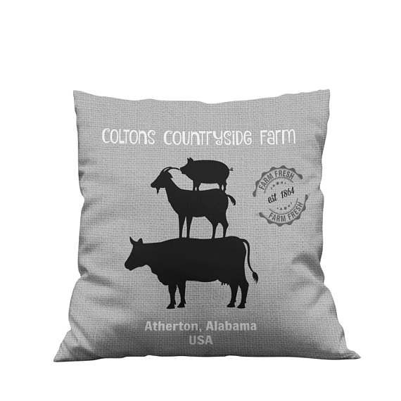 Personalized Custom Farm  Throw Pillow, Rustic, Primitive  , Gray   Stacked Animals