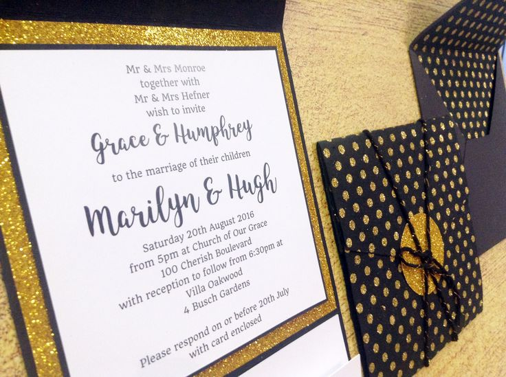 Gold Rush pocket invitation featuring sparkly gold glitter paper, cute polka dots, whimsical black & gold 12ply twine, crisp white card and gorgeous lined envelope x
