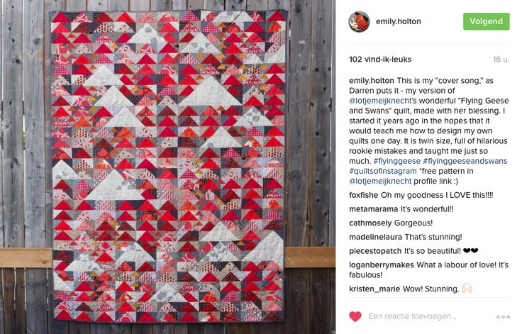 I so love this version of #flyinggeeseandswans quilt!! the saturation of it -from Emily Holton's feed https://www.instagram.com/p/BG0iDqnrxxR/?taken-by=emily.holton