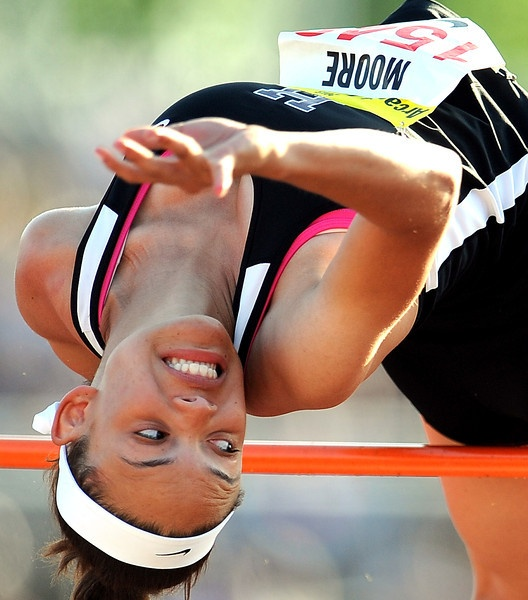Hamiltons Ashlee Moore competes in the high jump during the Arcadia Invitational