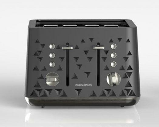 1800W Black 4 Slice Prism Toaster