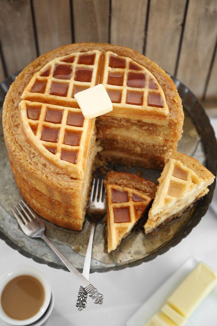 Maple Belgian Waffle Cake   Sprinkle Bakes