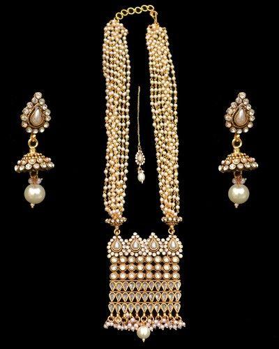 Long Rani Haar Necklace Earrings Pearls CZ Indian American Fashion Jewelry