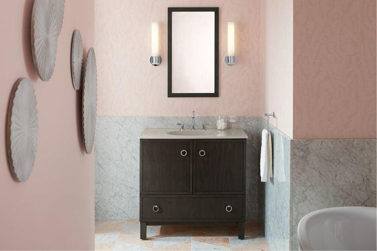 Jacquard framed mirror Purist sconces Stillness faucet Ceramic/Impressions vanity top sink Jacquard vanity Sunstruck bath