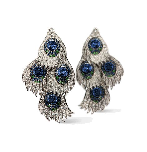 Carrera y Carrera - Carnaval earrings. Peacock Collection