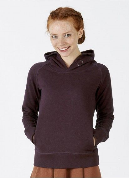 Toasty Girl ladies' hoodie in Heather Grape Red. This beauty is fair trade and made from 85% organic cotton.